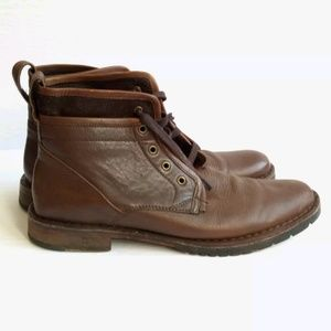 John Varvatos Brown Leather Ankle Lace Up Boots